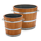 Saxonian oak wood planting bucket